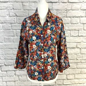 Vintage Alfred Dunner Floral Button Down Shirt 14P